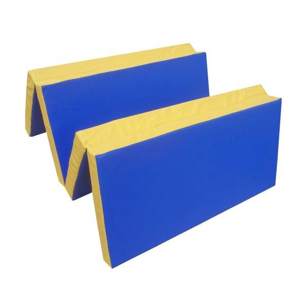 Turnmatte 200 x 100 x 8 cm klappbar Blau/Gelb