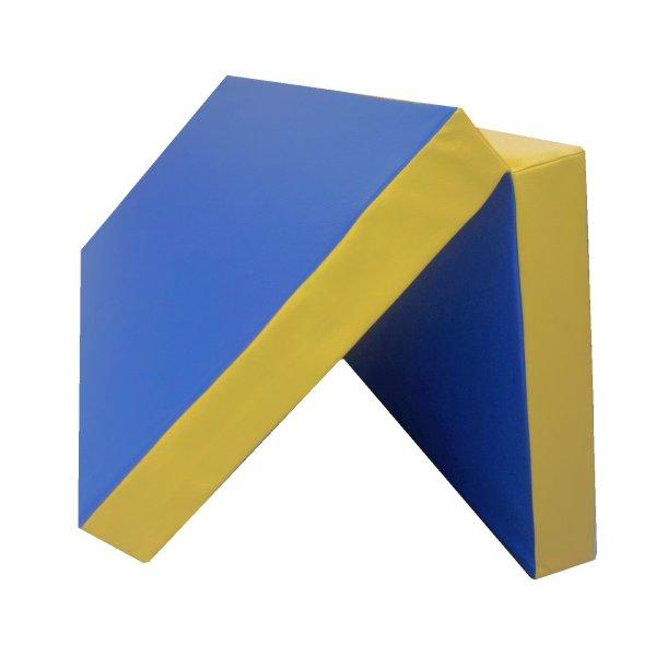 Gymnastics mat 100 x 100 x 8 cm folding Blue/Yellow