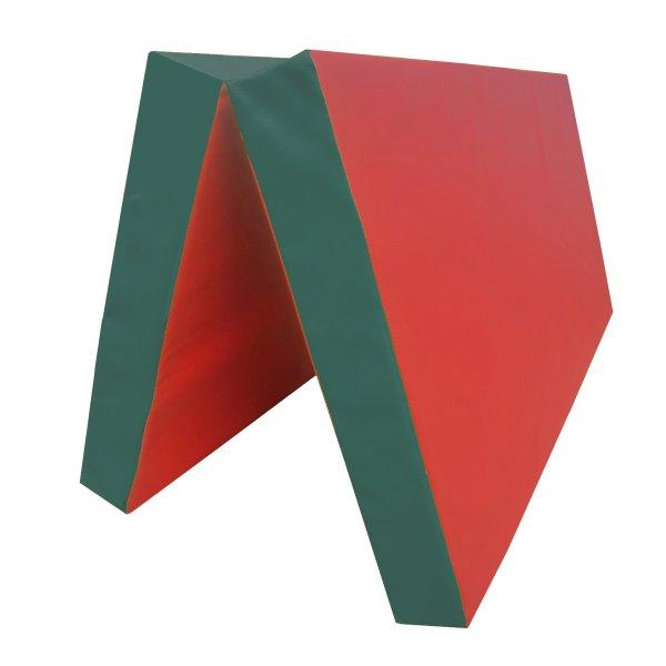 Turnmatte 100 x 100 x 8 cm klappbar Rot/Grün