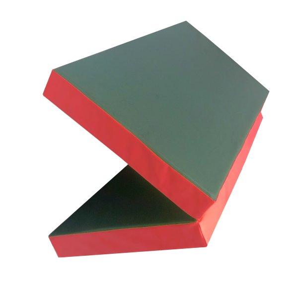 Gymnastics mat 100 x 100 x 8 cm folding Green/Red