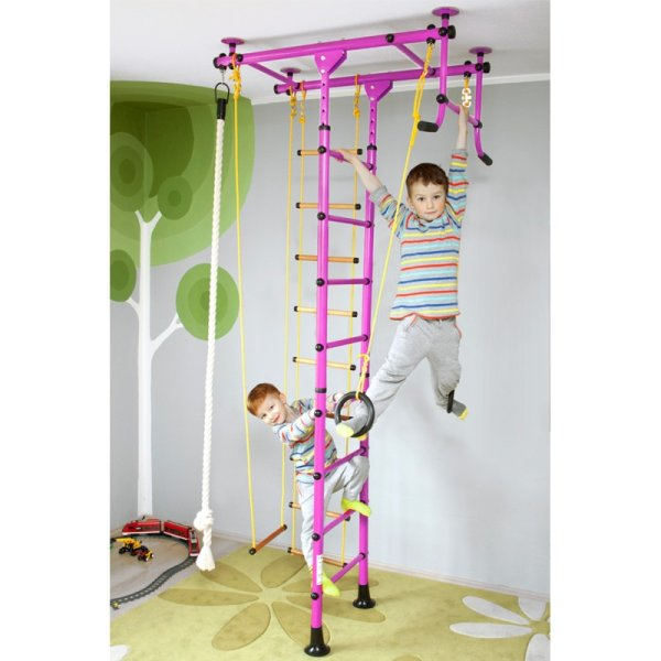 Wall bars FitTop M1 240 - 290 cm Pink Wooden bars